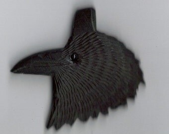 Raven Amulet Totem Hand Carved From American Buffalo Bone