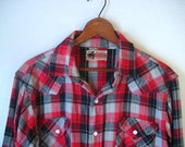 Vintage Plaid Western Shirt with Snap Buttons