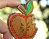 Once Bitten Apple Brooch - Salvaged Timber Wood