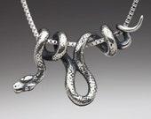 Silver Snake Necklace Vine Snake Pendant Snake Jewelry Snake Charm Serpent Jewelry Serpent Necklace Silver Snake Animal Jewelry Reptile