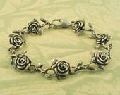 Rose Bracelet Silver - Rose Jewelry Silver Flower Bracelet - Flower Jewelry - Sterling Rose - Floral Bracelet Floral Jewelry