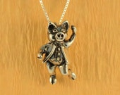 Silver Stepping Out Pig Charm Pendant