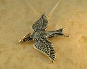 Mocking Jay Necklace Silver Bird Necklace Bird Charm Bird Pendant Bird Jewelry Animal Charm Animal Necklace Wing Jewelry Silver Bird Feather