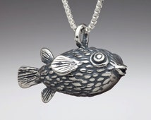Fish Necklace Silver - Puffer Fish Necklace - Blow Fish Necklace - Pufferfish Necklace - Fish Charm - Fish Jewelry - Fish Pendant