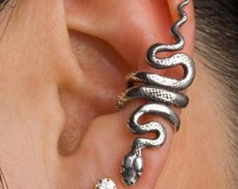 Snake Ear Cuff Snake Ear Wrap Silver Snake Earring Snake Jewelry Serpent Jewelry Serpent Ear Cuff Snake Art Medusa Reptile Jewelry Cuff