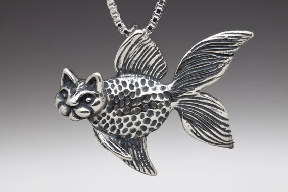 Fish Necklace Cat Necklace - Large Silver Catfish Charm Pendant - Fish Charm Fish Pendant Cat Charm Cat Pendant - Silver Fish Silver Cat