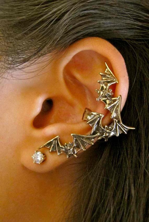 Bat Ear Cuff Bronze Bat Earring Bat Flock Ear Cuff Bat Jewelry Non Pierced Earring Non Pierced Ear Cuff Wing Earring Wing Jewelry Bat Wings