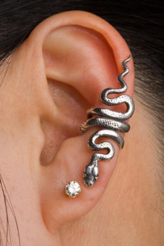 Snake Ear Cuff Snake Ear Wrap Silver Snake Earring Snake Jewelry Serpent Jewelry Serpent Ear Cuff Snake Art Ear Climber Medusa Reptiles