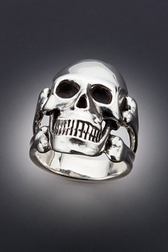 Skull Ring Silver - Large Skull and Crossbone Ring - Skull and Crossbone Jewelry - Skull Jewelry Silver Skull