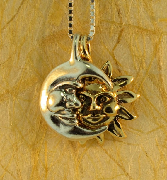 Sun and Moon Necklace - Eclipse Pendant with Gold Sun and Silver Moon - Moon Jewelry Sun Jewelry - Celestial Jewelry