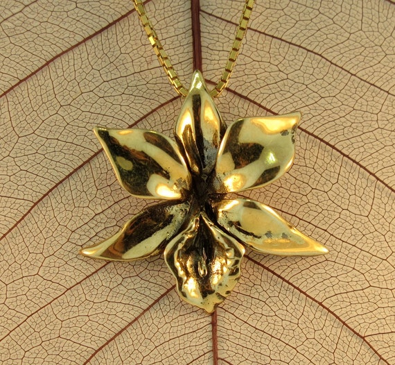 Gold Flower Necklace - Gold Orchid Charm Orchid Pendant - Solid 14k Gold Flower - Gold Jewelry Flower Jewelry Orchid Jewelry Island Jewelry
