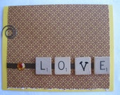 Yellow and Brown Scrabble Tile Love Handmade Card Mans Birthday Card