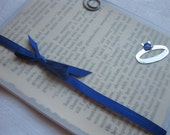 September Birthstone Birthday Card with Upcycled Book Page Sapphire Ring Handmade Card