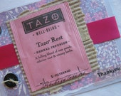 Thank You Handmade Card with Upcycled Tazo Tea Sachet Lavender and Pink