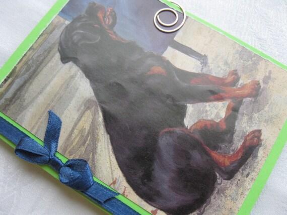Carl the Rottweiler Childrens Book Dog Handmade Card Green and Blue Birthday or Sympathy Card