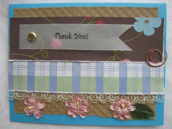 Handmade Thankyou Card Plaid with Pink Flowers