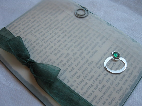 Upcycled Book Page with Emerald Ring Handmade Card