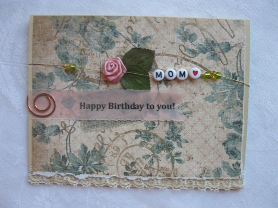 Handmade Card Mothers Day or Happy Birthday to Mom Pink and Beige