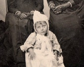 Little Girl in white with Pixie hat and two women in black - Antique tintype photo portrait photograph