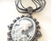 Vintage Cameo Ribbon Necklace