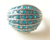 Pave Stacked Crystals - Vintage Cocktail Ring - Aquamarine Glass
