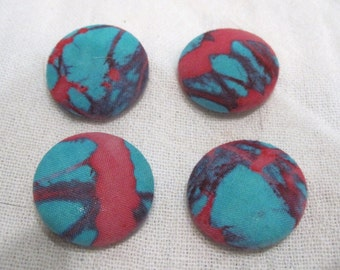 Batik Fabric Covered Button Set of 4