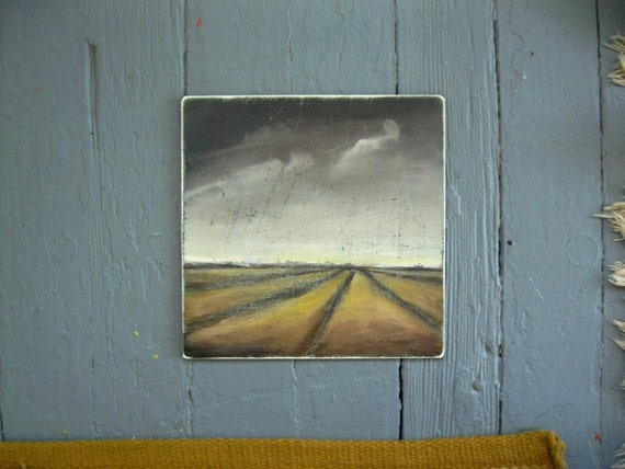 field and sky - oil painting - 6 x 6