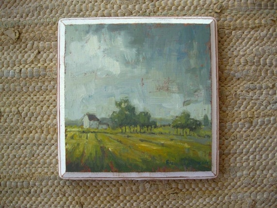 the day is long - oil painting - 6.5 x 6.5