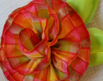 Summer splendor pink and orange madras ribbon rose fascinator