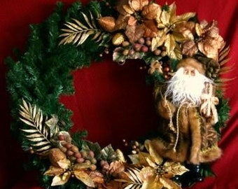 Bronze and gold santa 36 inch wreath