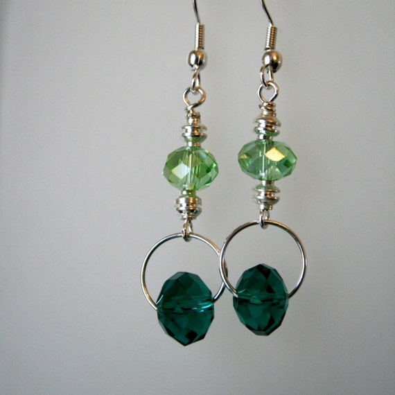 glittering green crystal dangles perfect for St. Patrick's Day