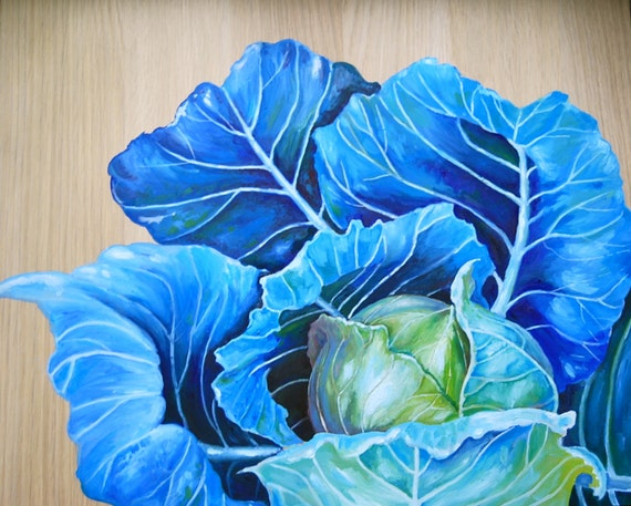 Still life - Original Oil Painting on Wood- Blue Cabbage