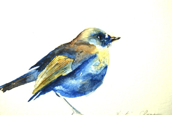"Bird Watercolor Painting, 6""x9"", framed"