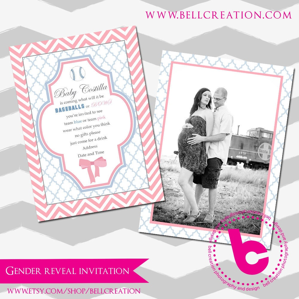 gender reveal party invitation template 5x7. Black Bedroom Furniture Sets. Home Design Ideas