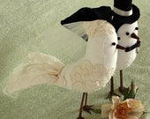 Bird Cake Topper - Fabric Birds with alencon lace applique - Wedding Cake Topper