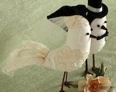 Bird Cake Topper - Fabric Birds with alencon lace applique - Wedding Cake Topper