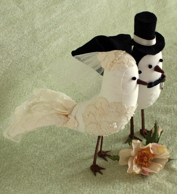 bird wedding cake topper bird cake topper fabric birds with alencon lace applique 1723