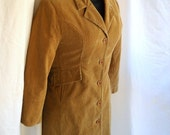 Vintage Ladies Coat Corduroy Jacket Tan Brown Fall Fashion Equestrian