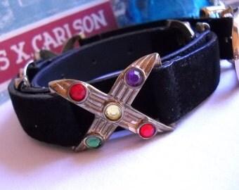 Vintage Belt Retro Belt Bejeweled Black Suede Belt