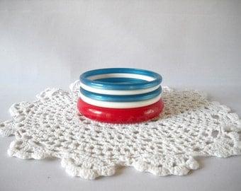 Vintage Bracelets Bangle Bracelets Retro Red White and Blue Retro 80s Jewelry