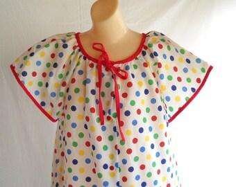 Vintage Robe Polka Dot Robe Loungewear Lingerie Short Sleeves Summer Robe Beach Coverup