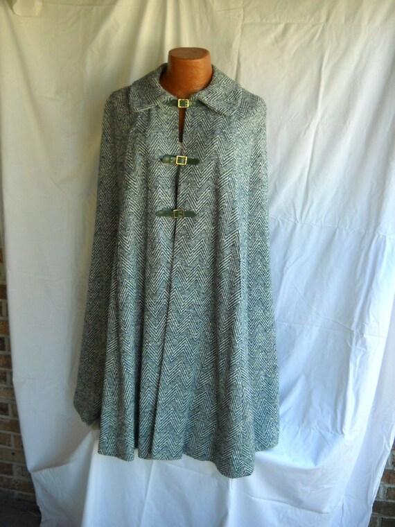Vintage Green Herringbone Tweed Cape