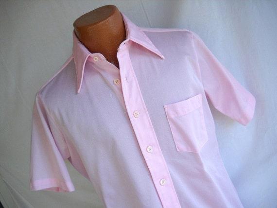 Vintage Shirt Arrow Shirt Men's Pink Shirt Short Sleeve Shirt  Man Men Dude