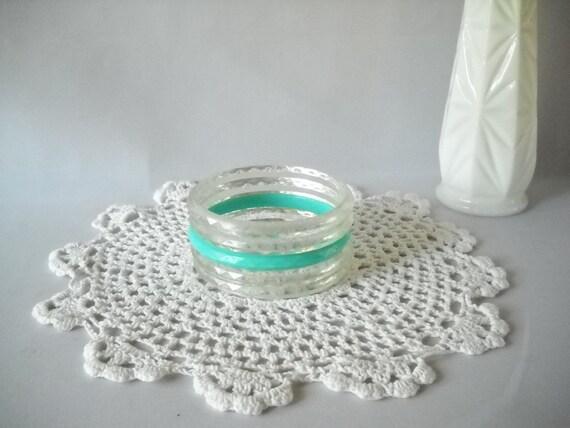 Vintage Bangle Bracelets Retro Clear Turquoise Plastic Faceted Bracelets