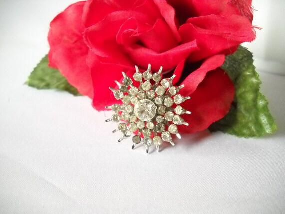 Vintage Brooch Rhinestone Brooch Starburst Costume Jewelry Signed Coro