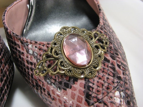 Rose Shoe Clips Filigree Pink Cabochon Jewelry for your Shoes 1 Pair