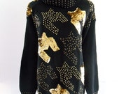Black Gold Glam Sequin Beaded Slouch Indie Turtle Neck Tunic Winter Warm Sweater . SM . medium . GT
