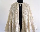Ivory Cotton Crochet Scalloped Open Cape Capelet Shawl Poncho Ethereal Wedding Lace . Free Size . GT