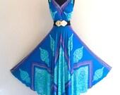 Avant Garde India Pattern Prom Bridal Maxi Gown Dress . small . medium . D117
