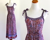 Reserved . Jan 18 . India Cotton Gauze Rainbow Metallic Rare Ethnic Indian Boho Hippie Festival Dress . XS . SM . D175